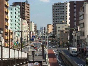 南千住駅南側の陸橋からパレスジャパンの方向